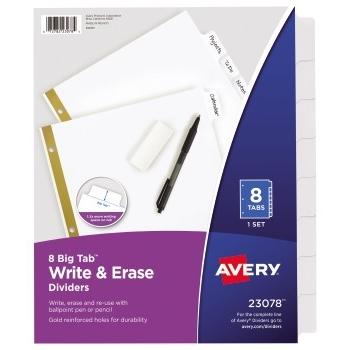 Big Tab™ Write & Erase Dividers, 8-Tab Set