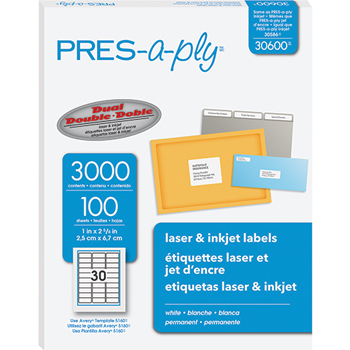 """PRES-a-ply® White Labels, 1"""" x 2 5/8"""", Permanent-Adhesive, 30-up, 3000/BX"""