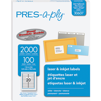 "PRES-a-ply® White Labels, 1"" x 4"", Permanent-Adhesive, 20-up, 2000/BX"