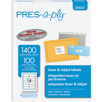 """PRES-a-ply® PRES-a-ply® White Labels, 1 1/3"""" x 4"""", Permanent-Adhesive, 14-up, 1400/BX"""