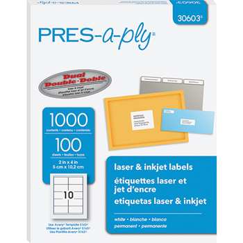 """PRES-a-ply® White Labels, 2"""" x 4"""", Permanent-Adhesive, 10-up, 1000/BX"""