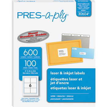 """PRES-a-ply® White Labels, 3 1/3"""" x 4"""", Permanent-Adhesive, 6-up, 600/BX"""