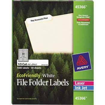 "Avery® EcoFriendly File Folder Labels, Permanent Adhesive, 2/3"" x 3 7/16"", 1500/BX"