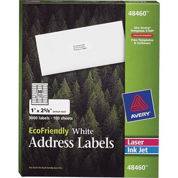 "Avery® EcoFriendly Address Labels, Permanent Adhesive, 1"" x 2 5/8"", 3000/BX"