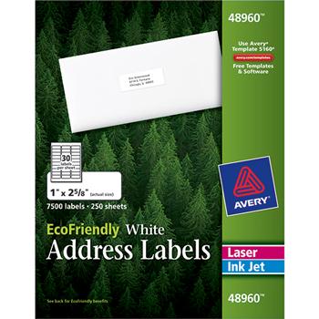 "Avery® EcoFriendly Address Labels, Permanent Adhesive, 1"" x 2 5/8"", 7500/BX"