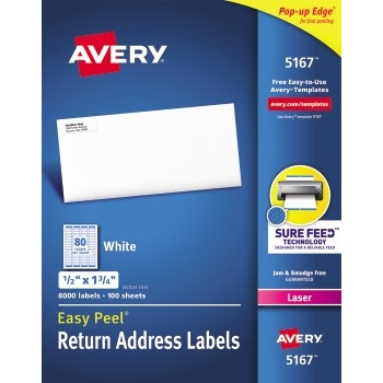 """Easy Peel® Return Address Labels, Sure Feed™ Technology, Permanent Adhesive, 1/2"""" x 1 3/4"""", 8,000/BX"""