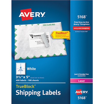 "Shipping Labels, TrueBlock® Technology, Permanent Adhesive, 3 1/2"" x 5"", 400/BX"