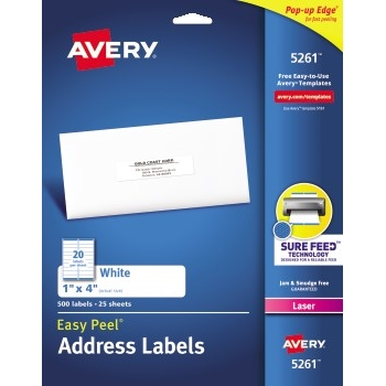 "Easy Peel® Address Labels, Sure Feed™ Technology, Permanent Adhesive, 1"" x 4"", 500/PK"