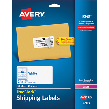 "Shipping Labels, TrueBlock® Technology, Permanent Adhesive, 2"" x 4"", 250/PK"