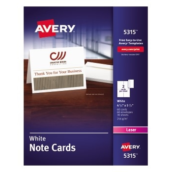 """Avery® Note Cards with Envelopes, Uncoated, Two-Sided Printing, 4 1/4"""" x 5 1/2"""", 60/BX"""