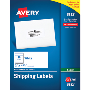 """Shipping Labels for Copiers, Permanent Adhesive, 2"""" x 4 1/4"""", 1000/BX"""