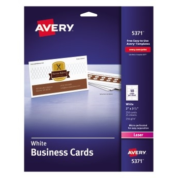 """Business Cards, Uncoated, Two-Sided Printing, 2"""" x 3 1/2"""", 250/PK"""