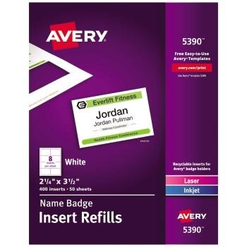 """Avery® Name Badge Insert Refills, 2 1/4"""" x 3 1/2"""", 400/BX"""