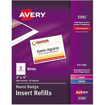 """Avery® Name Badge Insert Refills, 3"""" x 4"""",  300/BX"""