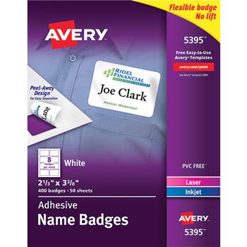 "Adhesive Name Badges, 2 1/3"""" x 3 3/8"""", 400/BX"