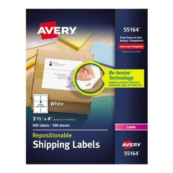 """Avery® Repositionable Shipping Labels, Repositionable Adhesive, 3 1/3"""" x 4"""", 600/BX"""