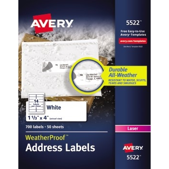 "WeatherProof™ Mailing Labels, TrueBlock® Technology, Permanent Adhesive, 1 1/3"" x 4"", 700/PK"