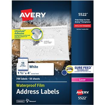 "Avery® Waterproof Labels, Permanent Adhesive, 1-1/3"" x 4"", 700 Labels/PK"