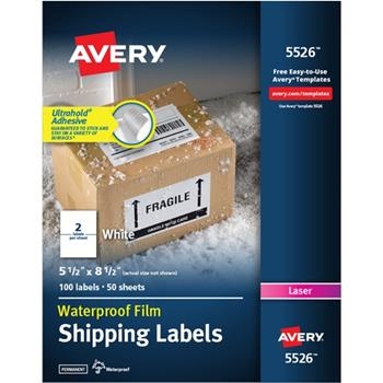 """Avery® Waterproof Shipping Labels With TrueBlock® Technology, 5-1/2"""" x 8-1/2"""", White, 100 Labels/PK"""