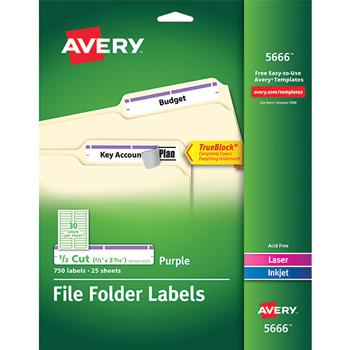 "Avery® File Folder Labels, TrueBlock® Technology, Permanent Adhesive, Purple, 2/3"" x 3 7/16"", 750/PK"