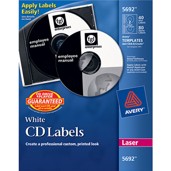 Avery® CD Labels, Print to the Edge, Permanent Adhesive, 40 Disc Labels and 80 Spine Labels/PK