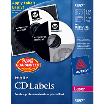 CD Labels, Print to the Edge, Permanent Adhesive, 250 Disc Labels and 500 Spine Labels/PK