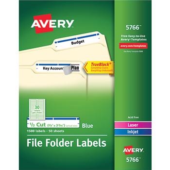 "Avery® File Folder Labels, TrueBlock® Technology, Permanent Adhesive, Blue, 2/3"" x 3 7/16"", 1500/BX"