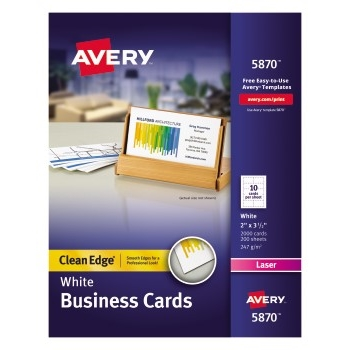 """Avery® Clean Edge® Business Cards, Uncoated, Two-Sided Printing, 2"""" x 3 1/2"""", 2000/BX"""