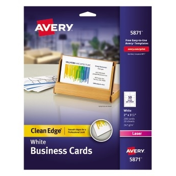"""Clean Edge® Business Cards, Uncoated, Two-Side Printing, 2"""" x 3 1/2"""", 200/PK"""