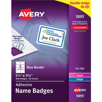 "Avery® Adhesive Name Badges, Blue Border, 2 1/3"""" x 3 3/8"""",  400/BX"