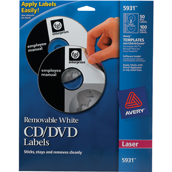 Removable CD Labels, Print to the Edge, Removable Adhesive, 50 Disc Labels and 100 Spine Labels/PK