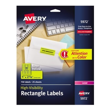 "High-Visibility Labels, Permanent Adhesive, Neon Yellow, 1"" x 2 5/8"", 750/PK"