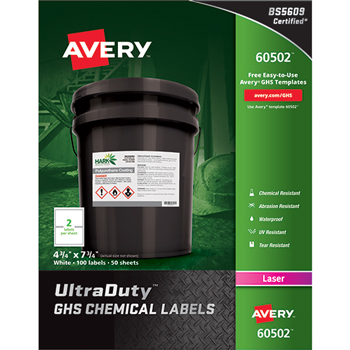 Avery® GHS Chemical Labels, 4 3/4 x 7 3/4,White, 100/Box