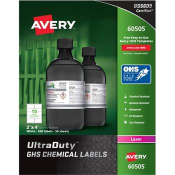 "Avery® UltraDuty Warning Labels,  2"" x 4"", White, 500 Labels/BX"