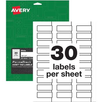 "Avery® PermaTrack Durable Asset Tag Labels, 0.75"" x 2"", White, 240 Labels/PK"