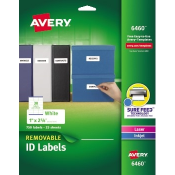 "Avery® Removable ID Labels, Removable Adhesive, 1"" x 2 5/8"", 750/PK"
