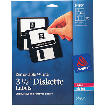 """Avery® Removable Diskette Labels, Removable Adhesive, 2-11/16"""" x 2"""", 375/PK"""