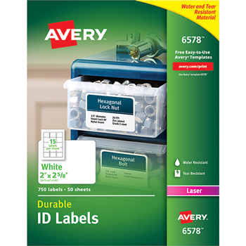 Avery® Permanent Durable ID Laser Labels, 2 x 2-5/8, White, 750/Pack