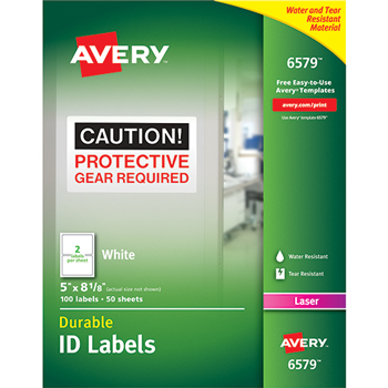 Permanent Durable ID Laser Labels, 5 x 8-1/8, White, 100/Pack