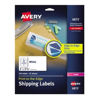 "Avery® Shipping Labels, Permanent Adhesive, Print to the Edge, 2"" x 3 3/4"", 200/PK"
