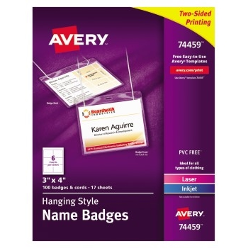 """Avery® Top-Loading Hanging-Style Name Badges, 3"""" x 4"""", 100/BX"""