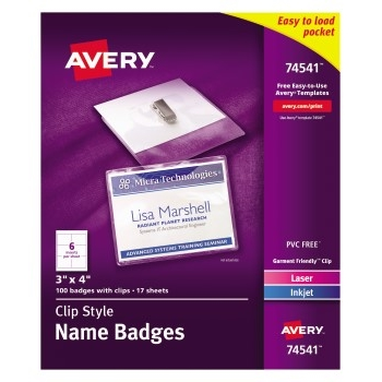 """Top-Loading Garment-Friendly Clip-Style Name Badges, 3"""" x 4"""",  100/BX"""