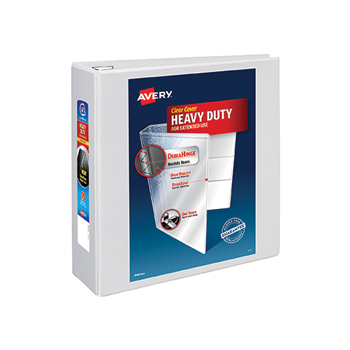 "Heavy-Duty View Binder, 4"" One-Touch Rings, 780-Sheet Capacity, DuraHinge®, White"
