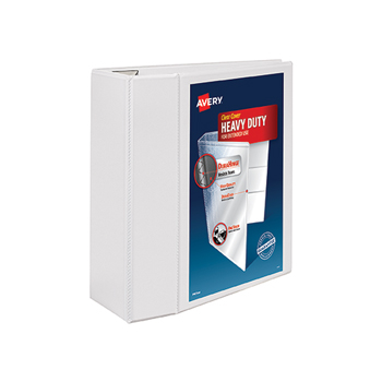 """Heavy-Duty View Binder, 5"""" One-Touch Rings, 1,050-Sheet Capacity, DuraHinge®, White"""