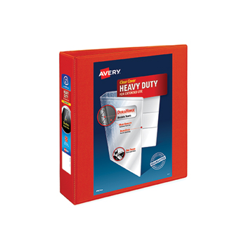 """Avery® Heavy-Duty View Binder, 2"""" One-Touch Rings, 540-Sheet Capacity, DuraHinge®, Red"""