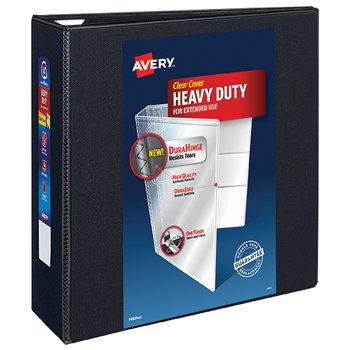 "Heavy-Duty View Binder, 4"" One-Touch Rings, 780-Sheet Capacity, DuraHinge®, Black"