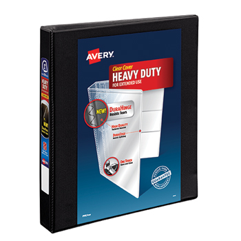 """Avery® Heavy-Duty View Binder, 1"""" One-Touch Rings, 220-Sheet Capacity, DuraHinge®, Black"""