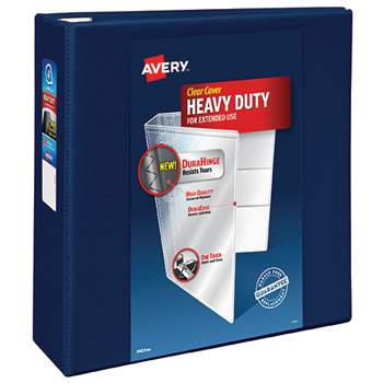 "Avery® Heavy-Duty View Binder, 4"" One-Touch Rings, 780-Sheet Capacity, DuraHinge®, Navy Blue"