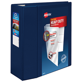 """Avery® Heavy-Duty View Binder, 5"""" One-Touch Rings, 1,050-Sheet Capacity, DuraHinge®, Navy Blue"""