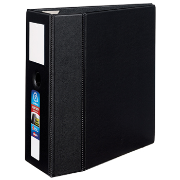 "Avery® Heavy-Duty Binder, 5"" One-Touch Rings, 925-Sheet Capacity, Label Holder, DuraHinge®, Black"